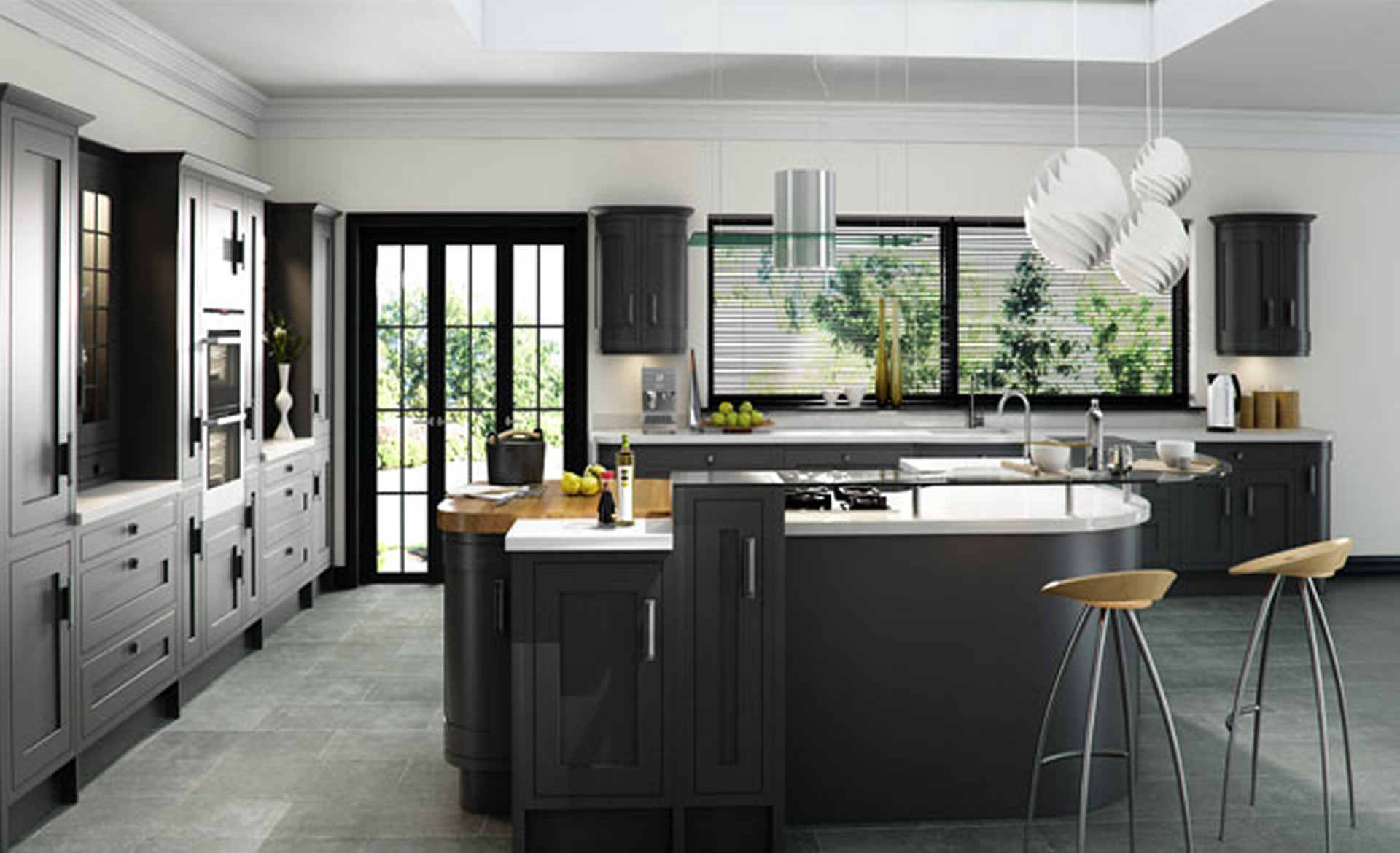 Kitchen Units Kitchen Cabinets Designs Supplied By Superior Cabinets - Graphite grey kitchen units & A Whitewashed Wooden Floor Kitchen With Graphite Vintage Grey. 30 ...
