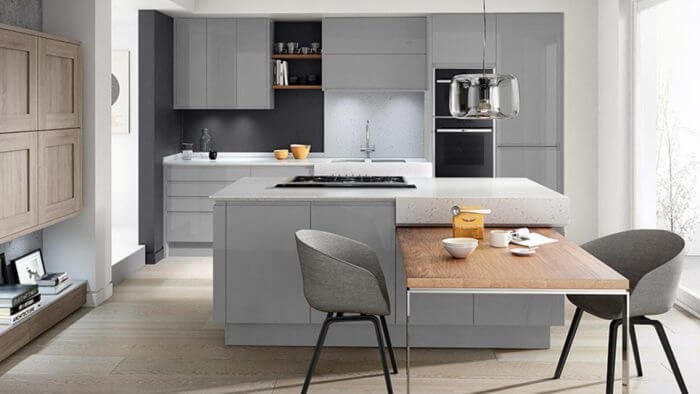 a calming silver grey finish on A contemporary Remo kitchen